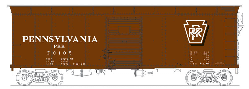 Bowser 41056 HO Pennsylvania Railroad Class X31a Round-Roof Boxcar #70105