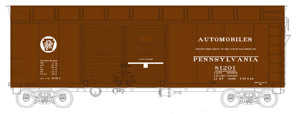 Bowser 41065 HO Pennsylvania Railroad Class X31a Turtle-Roof Double-Door Boxcar #81201