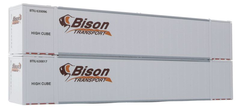 Con-Cor 488003 HO Bison Containers 53' Sheet/Post Rivet Side 2-Container Set #2