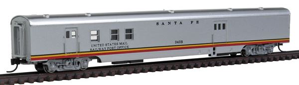 Con-Cor 40127 N Santa Fe 85' Smooth-Side Railway Post Office with Micro-Trains® Couplers