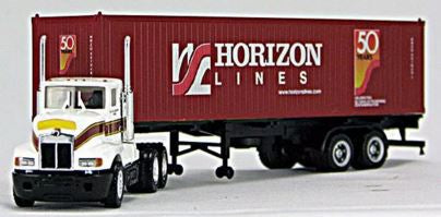 Con-Cor 9616 HO Horizon Lines 40' Container and Chassis with Huckabee Tractor #451946