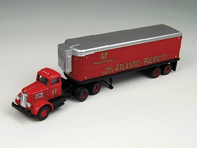 Classic Metal Works 31140 1:87 HO Mini Metals White WC22 Tractor w/32' Aerovan Reefer - A&P Grocers