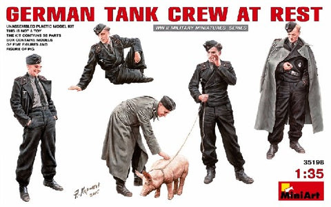 MiniArt 35198 1:35 German Tank Crew at Rest with Pig Figure (Set of 4)