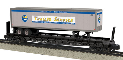 MTH 35-76002 S Baltimore & Ohio Flatcar with 48' Trailer (Smooth) #8775