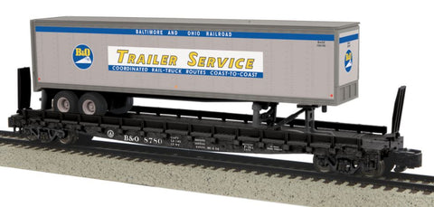 MTH 35-76003 S Baltimore & Ohio Flatcar with 48' Trailer (Smooth) #8780