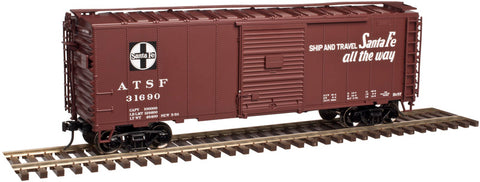 Atlas 2002224 O AT & Santa Fe Trainman 40' Sliding Door Box Car 3-Rail