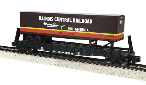 MTH 35-76025 S Illinois Central Flat Car with 48' Trailer #62813