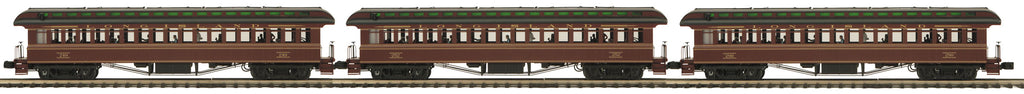 MTH 20-62056 O Long Island 64' Woodsided Passenger Coach Set (3)