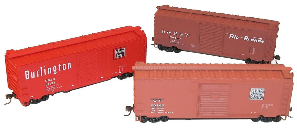 "Accurail 8077 HO  40' PS-1 Steel Box Car Kits, ""Zephyr Road"" Set(WP/CBQ/DRGW (Pack of 3)"