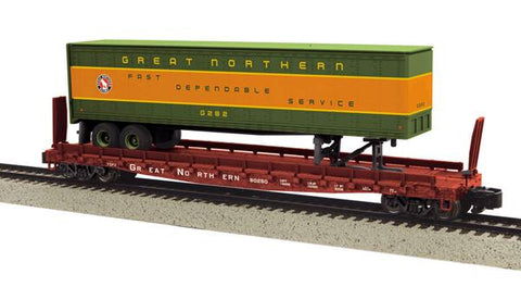MTH 35-76021 S Great Northern Flat Car w/48' Trailer (Smth w/Scale Whls) #60252