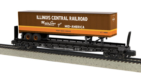 MTH 35-76009 S Illinois Central Flat Car w/48' Trailer (Smooth) #62813
