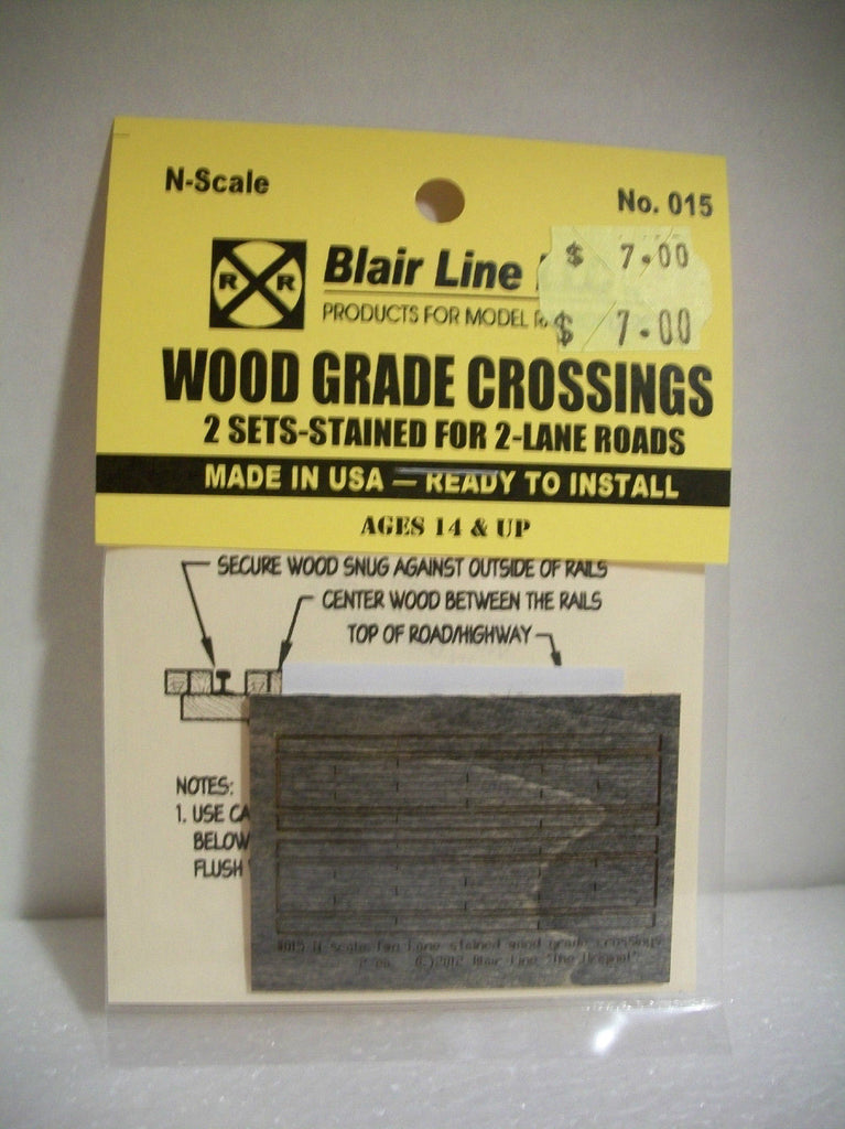 "Blair Line 015 N 2-Lane 1.80"" Stained Laser-Cut Wood Grade Crossing (Pack of 2)"