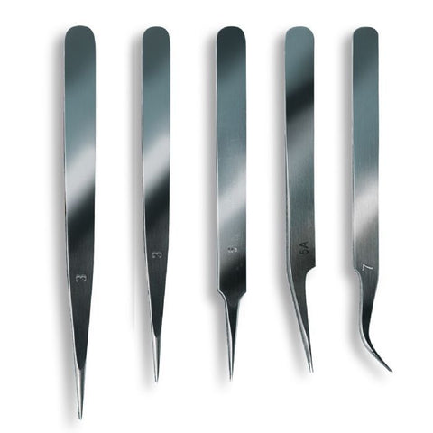 ARTESANIA LATINA 27068 Stainless Steel Extra Fine Tweezer Set 5pc