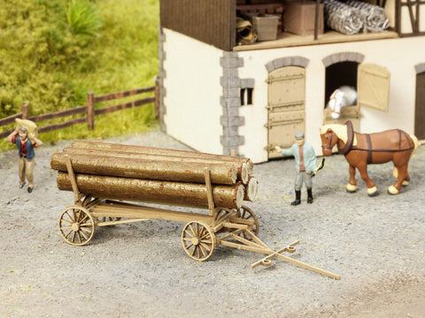 Noch 14243 HO Horse-Drawn Log Wagon Kit