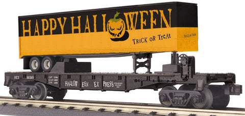 MTH 30-76655 O Halloween Express Flatcar with 40' Trailer