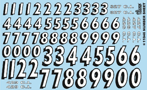 Gofer Racing Decals 11046 1:24-1:25 Race Car Numbers Sheet Decal
