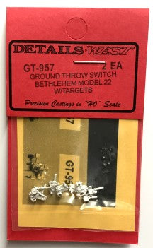 Details West 957 HO Bethlehem Model 22 Ground Throw Switch w/ Targets (Set of 2)
