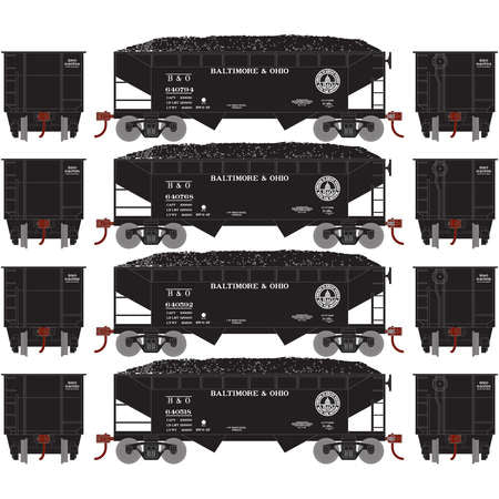 Roundhouse 70245 HO Baltimore & Ohio 34' 2-Bay Offset Hopper w/Coal Load #2 (4)