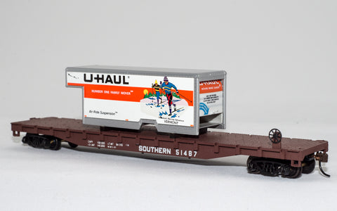 "Con-Cor 1009298 HO Southern Railway 54' Flatcar with U-Haul ""Vermont"" #51487"