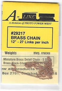 A-Line 29217 HO Brass Chain - 12 30.5cm 27 Links Per Inch