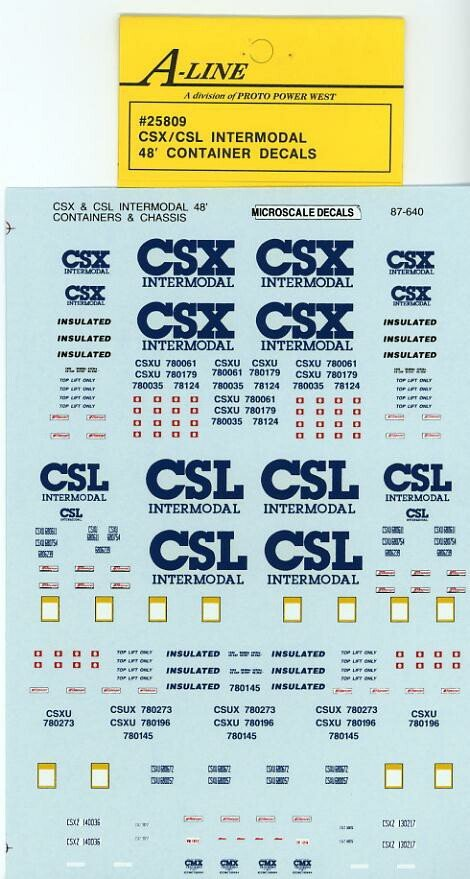 A-Line 25809 HO CSX Transportation / CSL Intermodal 48' Container Decals