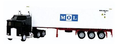 Herpa 6440 HO K100 Semi Tractor with 40' MOL Reefer Container on Chassis - Assembled