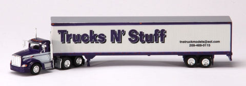 Trucks N' Stuff SP095 HO TNS Advertiser Semi Truck Peterbilt 386 Day Cab with 53' Dry Van Trailer