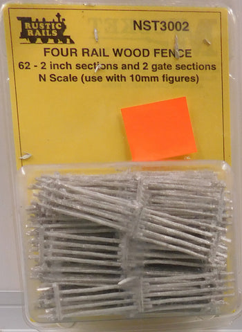 Rustic Rails NST3002 N 4 Rail Wood Fence Sections and Gate Sections