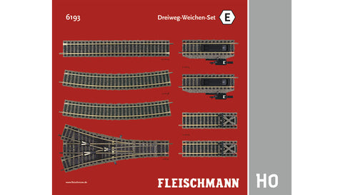 Fleischmann 6193 HO Three-Way Point Set E Track Pack