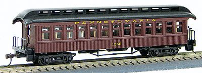 Con-Cor 15610 HO Pennsylvania Railroad 1880s Wood Open-Platform Coach - Ready to Run #1263