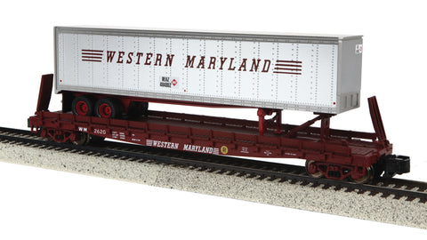 MTH 35-76022 S Western Maryland Flat Car with 48' Trailer #2620