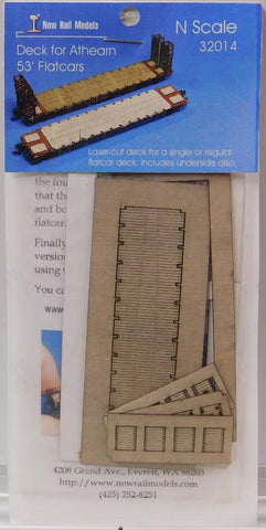New Rail Models 32014 N Deck for Athearn 53' Flat Cars Laser Cut Kit