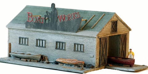Model Tech Studios 1300P HO Built Up Structure Boatbuilders Workshop