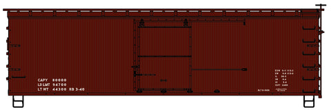 Accurail 1497 HO Data Only 1940's Lettering 36' Double Sheath Wood Boxcar