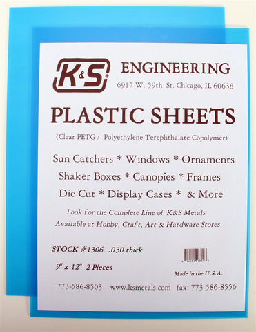 "K&S 1306 Blue Plastic Sheet 0.30 thick, 9 x 12"" (2)"
