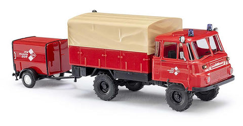 Busch 50243 HO Robur LO 2002 A Low-Side Truck with Trailer - Fire Department