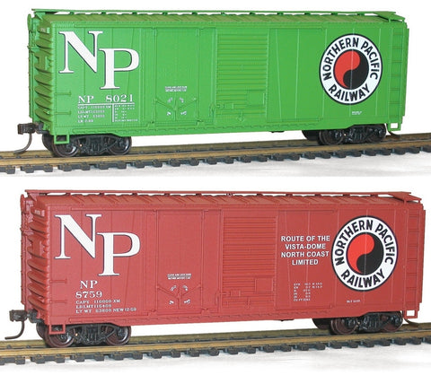 Accurail 1231 HO Northern Pacific 40' Combination Door Steel Boxcar #8021, 8759