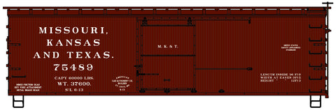 Accurail 1705 HO Missouri Kansas Texas 36' Double Sheath Wood Boxcar #75489
