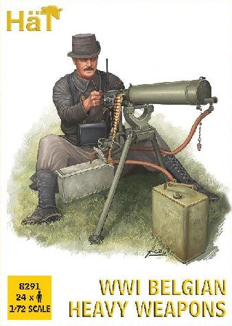 HaT Industries 8291 1:72 WWI Two Belgian Heavy Weapons & Soldiers (Pack of 24)