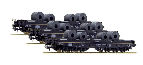 Roco 76957 HO DB Heavy Duty Flat Wagons with Cable Reels (Set of 3)