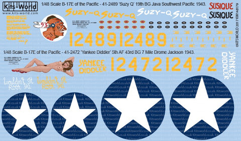 Warbird Decals 148179 1:48 B17E of the Pacific Suzy Q', Yankee Diddler