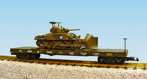 USA Trains R1773 G US Army Flatcar with Sherman Dozer #G4945