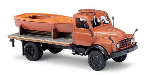 Busch 50813 HO 1958 Hanomag AL 28 MKW Flatbed Truck with Boat Load Brown, Black