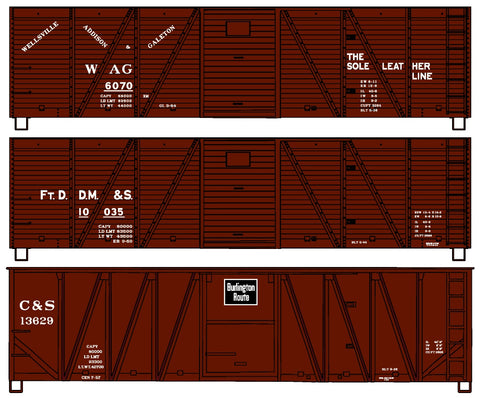 Accurail 8095 HO WAG, Fr.DDM&S, C&S 40' Wood Boxcar 3-Car Set