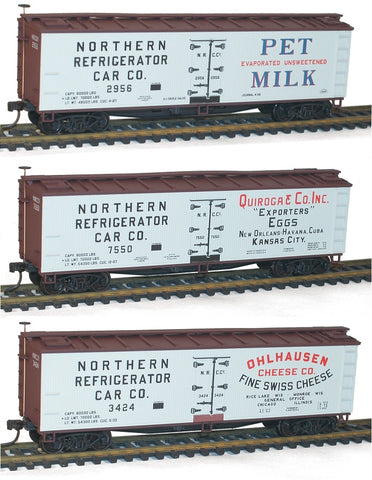 Accurail 8096 Pet Milk, Quioraga & Co. Onhlausen Swiss Cheese Reefer Set (3)