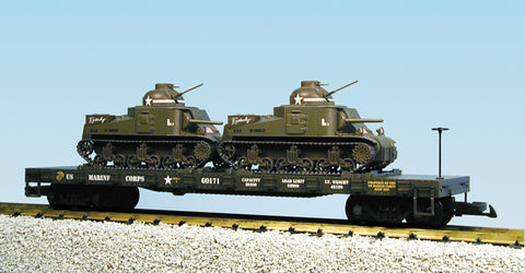 USA Trains R1771 G US Army Flat Car with M3 Tanks (2)