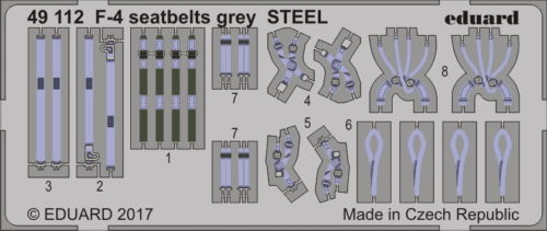 Eduard 49112 1:48 Aircraft- Seatbelts F4 Grey Steel (Painted)