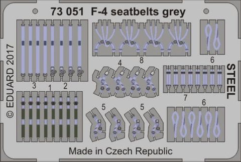Eduard 73051 1:72 Aircraft- Seatbelts F4 Grey Steel (Painted)