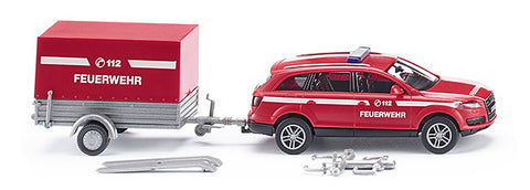 Wiking 013307 HO Fire Brigade - Audi Q7 with Trailer