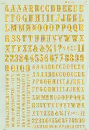 Microscale 90098 HO Alphabets & Numbers - Quentin Dulux (Imitation Gold)
